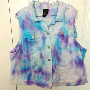 Plus size tie dye jean vest size 22